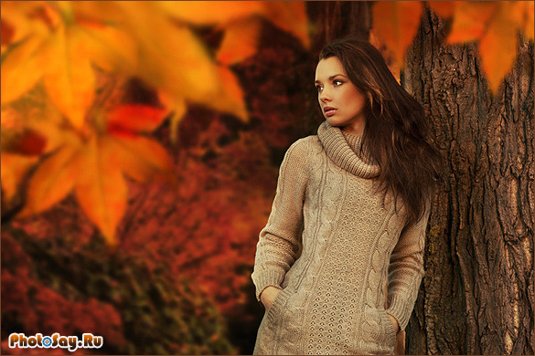 Как можно сфоткаться с осенними листьями фото